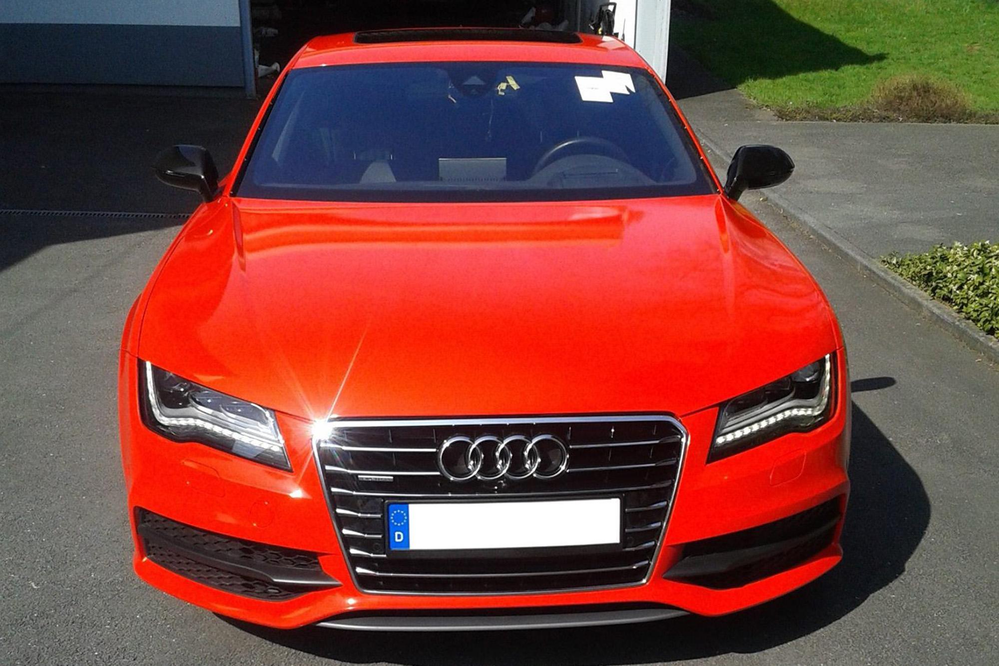 Audi A7 Sportback Gewrapped Mit 3m Gloss Hotrod Red Wrapfilm